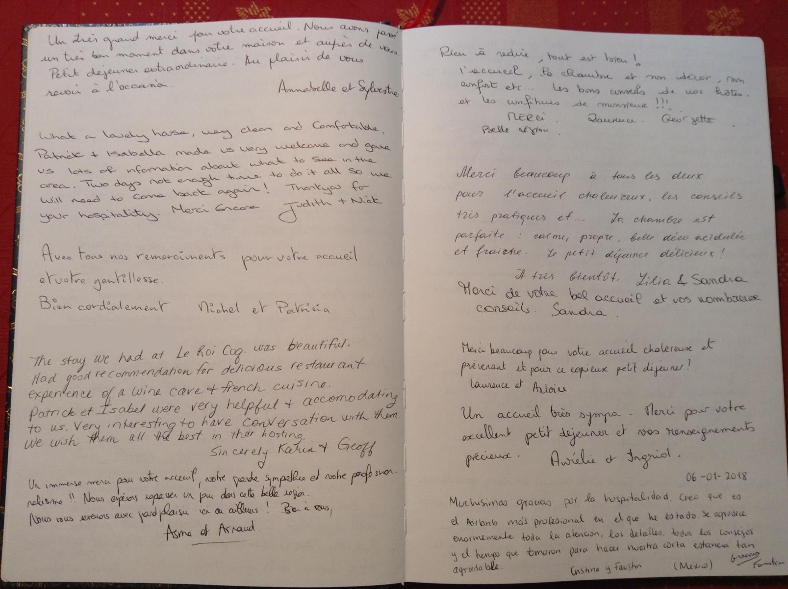 Livre d'or B&B Le Roi Coq pages 1/2